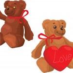 Cute Teddy Bear with red love heart — Stock Vector #8411620