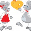 Cartoon of a Male Mouse Giving a Female Mouse a Heart — Stock Vector