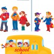 Stock Vector: School kids on bus stop and going to school by bus