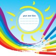 Rainbow, sun and color Pencils — Stock vektor