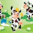 Stok Vektör: Cows cartoons