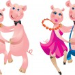 Happy cartoon couple of pigs dancing. — Vector de stock #8415000