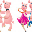Vector de stock : Happy cartoon couple of pigs dancing.