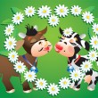 Cartoon kissing cows and camomile border — Stockvektor
