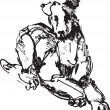 Ink sketch of dog: playing young terrier (black and white picture) — Imagen vectorial