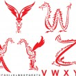 Series of dragons alphabet, letters VWXYZ, fantasy dragon font — 图库矢量图片