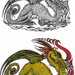 Dragon (color and black and white picture) — Stock Vector