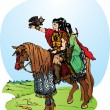 Stock Vector: Illustration for fantasy fairy tale: 2 elfs riding on horse