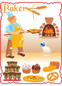 Young red haired baker with white cat next to fire place — Stock Vector