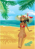 Girl on a tropical beach with straw hat — Stockvector