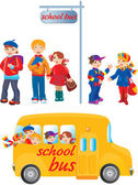 School kids on bus stop and going to school by bus — Stock Vector