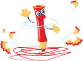 Writing funny crazy red pencil cartoon — Stock Vector