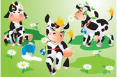 Vaches dessins animés — Vecteur