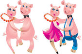 A happy cartoon couple of pigs dancing. — Stockvector