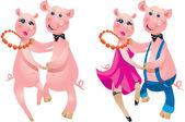 Una pareja feliz de dibujos animados de cerdos bailando. — Vector de stock