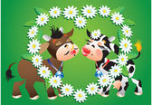 Cartoon kissing cows and camomile border — Stock Vector