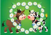 Cartoon kissing cows and camomile border — Stock Vector