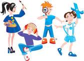 Set of cute cartoon kids — Stock Vector