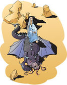 Fantasy fairy tail illustration: beautiful girl and dragon in desert — Stock Vector
