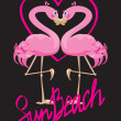 Stock Vector: Couple of pink flamingos and heart (I love Sun Beach).