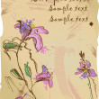 Aquarelle sketch of iris flowers on old parchment with empty space - Stock Vector