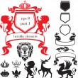 Set of heraldic silhouettes elements — Vettoriali Stock
