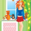 Pretty girl with teddy bear toys standing next to window with frame for you — Stock Vector #8424897