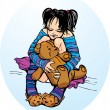 Cute little girl dressing funny slippers with Teddy bear — Stock Vector #8424904