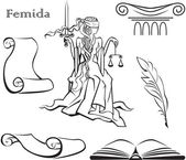 Set of justice symbols and Themis — Stockvector
