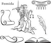 Set van justitie symbolen en themis — Stockvector