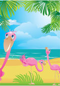Portrait border with flamingos on beautiful tropical beach. — Stock Vector