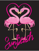 Couple of pink flamingos and heart (I love Sun Beach). — Stock Vector