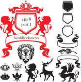 Set of heraldic silhouettes elements — Stock Vector