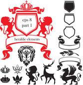 Set of heraldic silhouettes elements — Stock Vector