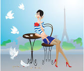 Girl in Paris street cafe — Stock Vector