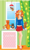Pretty girl with teddy bear toys standing next to window with frame for you — Stock Vector