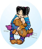 Cute little girl dressing funny slippers with Teddy bear — Stock Vector