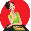Girl has sushi in attractive japanese restaurant. — Stock Vector