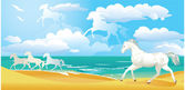 Sea side landscape with horses and clouds — Stock Vector