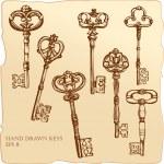 verzameling van antieke sleutels — Stockvector