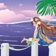 Girl on tropical sea side looking sunset — Stock vektor