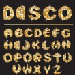 Gold disco ball letters - alphabet set — Vector de stock #8451996