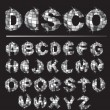 Stock Vector: Silver disco ball letters
