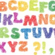 Sketch Alphabet - different colors letters are made like a scribble - Stock Vector