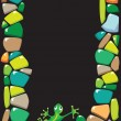 Portrait frame with colored stones and lizard. — Imagen vectorial