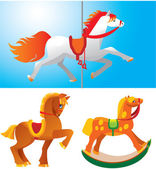 Toy horses isolated on white background. — Stock Vector