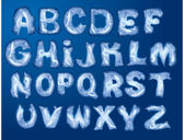 Alphabet Merry Christmas and New Year - letters are made by hoarfrost — Stockvector