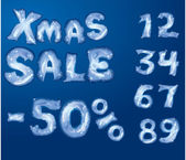 Symbol Christmas SALE, numerals and letters are made by hoarfrost — Wektor stockowy
