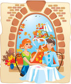 Dating couple in the cafe. — Stock Vector