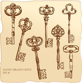 Set of Antique Keys. — Vector de stock